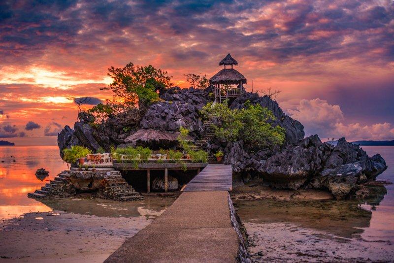 Sunset rock bar view