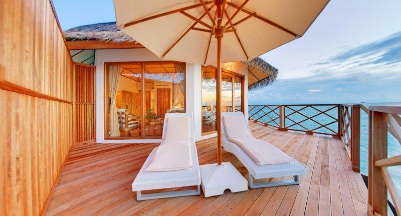Angaga Island Resort _ Superior Water Bungalow deck